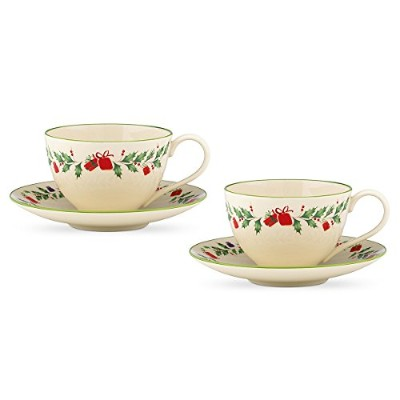 Lenox Holiday Inspirationsと図Cup and Saucer Set , Set of 2( 2つの各ピース)