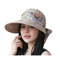 Roll Up Wide Brim Sun Visor UPF 50 + UV Protection Sun Hat withネックプロテクター