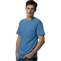 Hanes 5590 Tagless Pocket T-Shirt Size Extra Large, Denim Blue