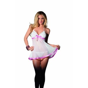 Sheer Chemise w/Lace Cups & Pink Trim & Panty White O/S