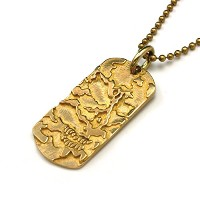 【COMMAND】HIDE SKULL DOG TAG(LARGE SIZE)/真鍮 メンズ ネックレス