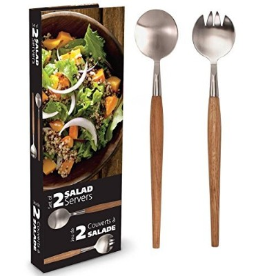 Natural Living Acaciaチーズボードwith Dome。。。 Salad Servers 14179810