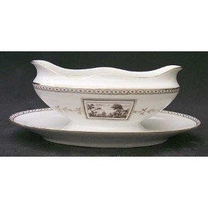 Richard Ginori Fiesole Oval Gravy Boat with attached Underplate
