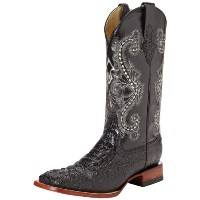 Ferrini 4039304130D Mens Print Caiman Crocodile Square Toe Boots - Black, 13D