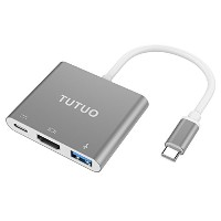 TUTUO Type-C to HDMI / USB A / USB C PD 3 イン 1 変換アダプタ 4K MacBook Pro / Pixel / XPS 13 グレー