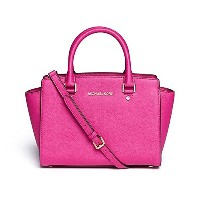 MICHAEL KORS SELMA MEDIUM SAFFIANO LEATHER SATCHEL FUSCHIA [並行輸入品]