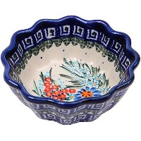 High Quality 0432/169 Royal Blue Patterns with Blue Daisy and Orange Phlox Motif Bowl Babka, Small