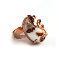Amaro Jewelry Studio 'Garnet' Collection 24K Rose Gold Plated Oval Shaped Adjustable Ring Accented...
