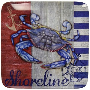 High Quality Corp Maritime Melamine Crab Dinner Plate (Set of 6), 10.5, Multicolor