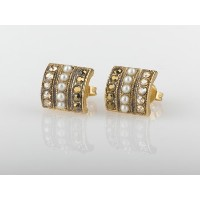 Amaro Jewelry Studio 'Pearl Gem' Collection 24K Yellow Gold Plated Marvelous Stud Earrings...