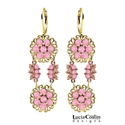 Gorgeous Dangle Flower Earrings by Lucia Costin Crafted in 24K Yellow and Pink Gold over .925...