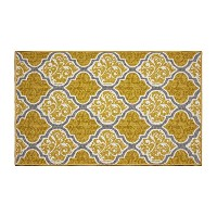 High Quality Kiana Textured Printed Accent Rug, Gold/Grey 26 x 45