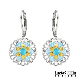 Victorian Style Earrings by Lucia Costin Made of .925 Sterling Silver with 24K Yellow Gold over ...