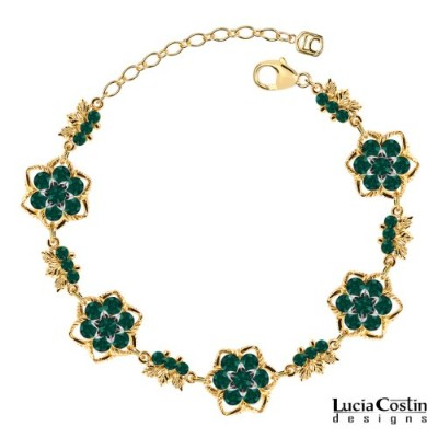 14K Yellow Gold Plated over .925 Sterling Silver Fabulous Bracelet Designed by Lucia Costin with 6...