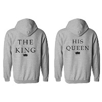 The King His Queen Crown Minimal Couple Matching Valentines Love Sports Grey Men Women Unisex...