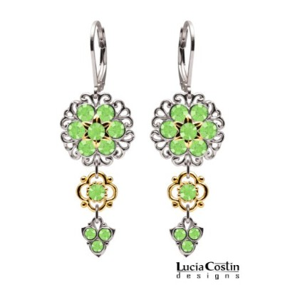 Impreessive Dangle Flower Earrings Designed by Lucia Costin Crafted in .925 Sterling Silver with...