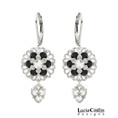 Lucia Costin Lever Back Flower Shaped Dangle Earrings Made of .925 Sterling Silver with White and...