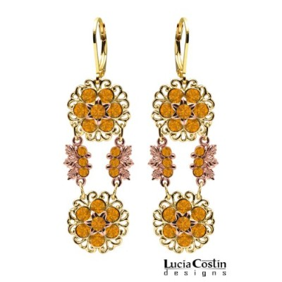 Flower Shaped Earrings by Lucia Costin with Filigree and Leaf Ornaments, Crafted with 6 Petal...