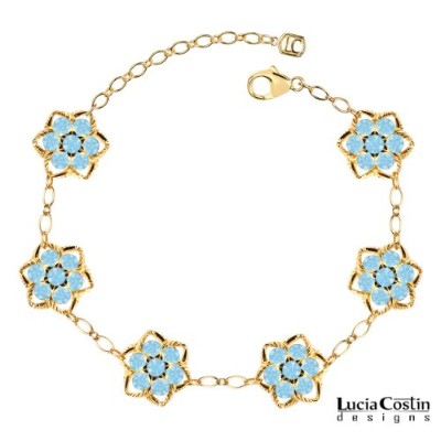 14K Yellow Gold Plated over .925 Sterling Silver Flower Bracelet Designed by Lucia Costin with...