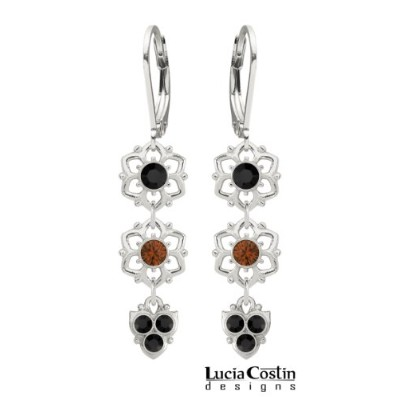 Lucia Costin Flower Shaped Dangle Earrings Made of .925 Sterling Silver with Brown, Black Swarovski...