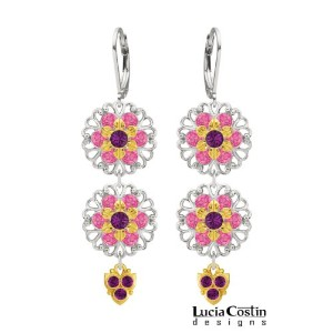 Lucia Costin floral chandelier earrings Made of .925 Sterling Silver with 24K Yellow Gold over .925...