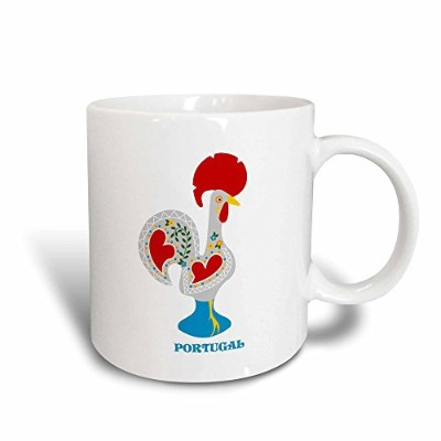 3drose Belinha Fernandes–Theポルトガル語Rooster–Theホワイトポルトガル語RoosterまたはGalo De Barcelos–マグカップ 11 oz...