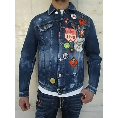 "DSQUARED2(ディースクエアード)【SCOUT PATCH DENIM JACKET】""STRETCH DENIM MEDIUM STORMY WASH""""ワッペン""付きDAN JEAN..."