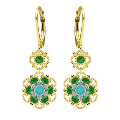 Lucia Costin Silver, Green, Turquoise Crystal Earrings with Twisted Lines