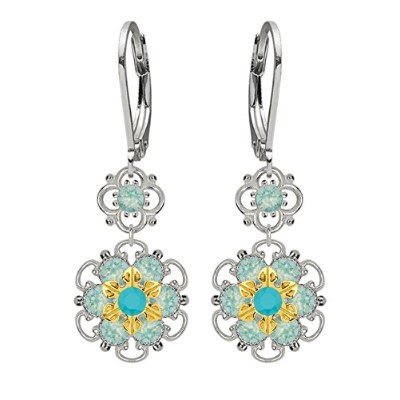 Lucia Costin Silver, Turquoise, Mint Blue Swarovski Crystal Earrings, Attractive