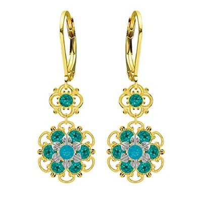 Lucia Costin Silver, Turquoise Green, Blue Crystal Earrings with Flowers