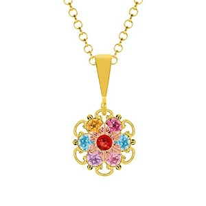 Lucia Costin Silver, Multicolor Swarovski Crystal Pendant with Cute Dots