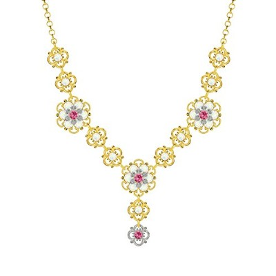Lucia Costin .925 Silver, Pink, White Swarovski Crystal Necklace, Irresistible