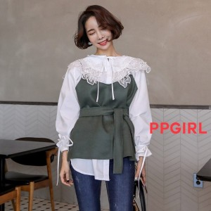 PPGIRL_B301 Color bustier / blouse / layered blouse / sleeveless / belted blouse /
