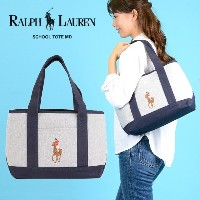 ポロラルフローレン POLO RALPH LAUREN トートバッグ Medium School Tote 959083 HEATER GRAY/NAVYET 取寄商品