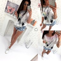 2017 New Women s Fashion Hot Summer T-shirt Feather Short Sleeved T-shirts Sexy Off Shoulder Loose T