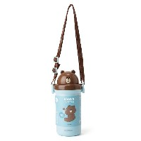 Line Friends Store Official Goods : Brown Straw Bottle