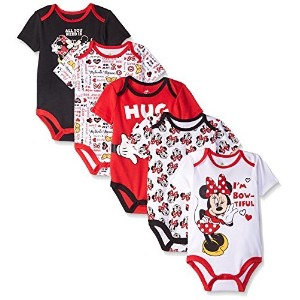 Disney Baby Minnie Mouse 5 Pack Bodysuits  Multi/Red  6-9 Months