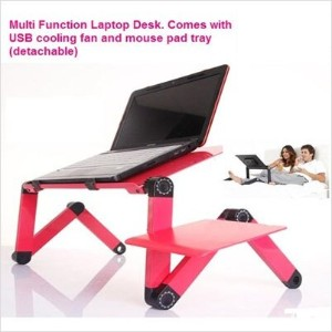 Multi Functional Foldable Laptop table stand E-Table Portable Laptop Desk with USB Cooler