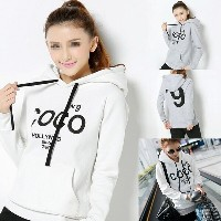 Women s Fashion COCO Print Thickened Hoodie with Pocket