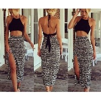 Feelingirl Sexy Women Party Long Patchwork Maxi Mid-Calf Dress High Split Two Pieces Dresses