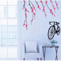 [アメリカ直送]Buyinhouse Nursery Cute Cartoon X Large Sakura Blossoms Pink Flowers Bicycle Wall Sticker D