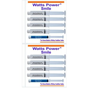 Watts Power 35% Teeth Whitening Gels - 8 Huge 10ml Gels Plus NEW FCP Enamel Gel / Dual Action for Surface and Deep Stains - 80ml - Made in the USA by Direct 2u Wholesale LLC