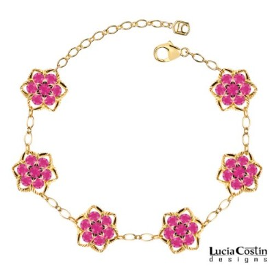 Romantic Flower Bracelet by Lucia Costin with Fuchsia Swarovski Crystals Surrounded by Twisted...