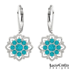 Lucia Costin Dangle Flower Earrings Made of .925 Sterling Silver with Turquoise - Green Swarovski...