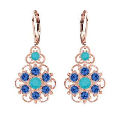 Lucia Costin Silver, Turquoise, Blue Swarovski Crystal Earrings with Dots