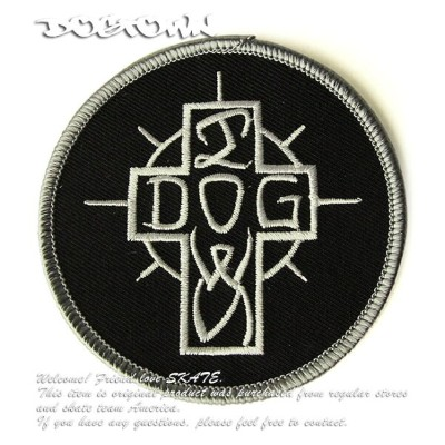 """Dogtown Skateboards パッチ ワッペン 刺繍 ドッグタウン Ese Cross Embroidered Patch - 3"""" Round Black/Silver スケボー..."""