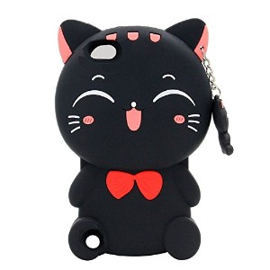 iPhone iPod touch 6/ iPod touch 5 ケース アイフォンtouch 6 touch 5カバー シリコン 黒猫 ねこキャラクター 耐衝撃ケース (iPod touch 6...