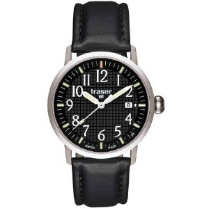 Traser Classic Basic Watch with Leather Strap – ブラック