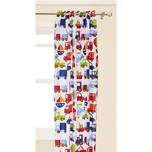 Transportation Multicolor Curtain Panel by Bacati