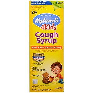 Cough Syrup 4 Kids with 100% Natural Honey, 4 Ounce by Hyland's Homeopathic
